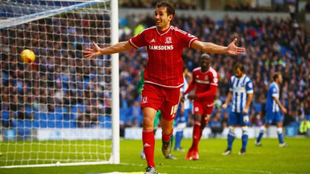 Stuani celebrates as Boro inflicted Brighton's first loss of the season - will they repeat the feat on Saturday? | Image source: Sky Sports