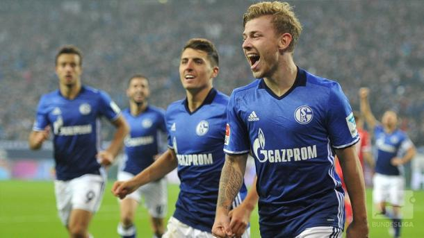 Max Meyer celebrates his goal. | Image credit: Bundesliga.de