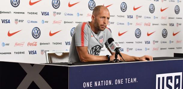 Gregg Berhalter durante la conferencia de prensa   Foto: U.S.Soccer