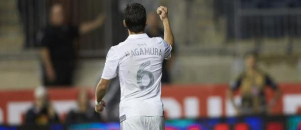 Pablo Nagamura celebrates during a recent game. (Gary Rhonan/Sporting KC)