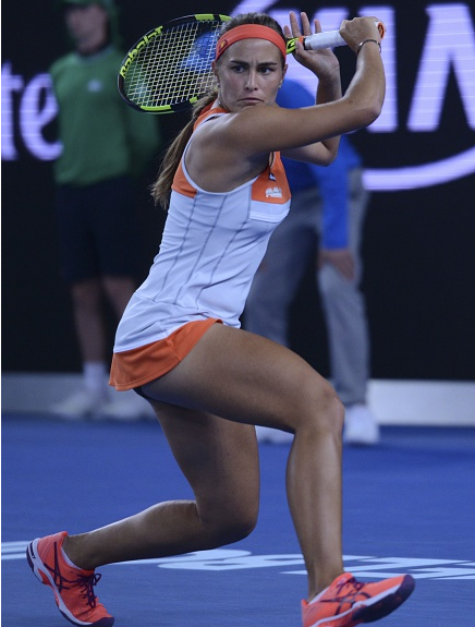 Monica Puig hitting a slice backhand | Photo: Anadolu Agency
