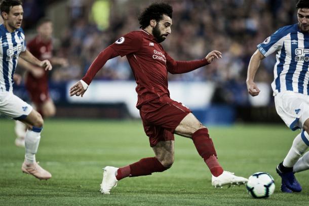 Com um leve toque, Salah abriu o placar da partida (Reprodução / Liverpool FC)