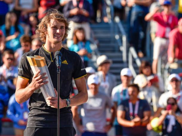 Alexander Zverev after winning the Rogers Cup yesterday (Getty/Minas Panagiotakis)