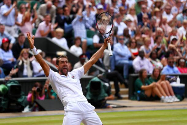 Marin Cilic celebrates his semifinal win over Sam Querrey (Getty/Michael Steele)