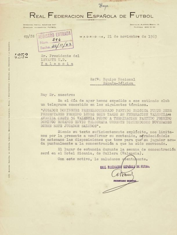 Telegrama enviado por parte de la Federación Española de Fútbol al Levante Unión Deportiva en relación con Ernesto Domínguez / Fuente: Levante Web Oficial