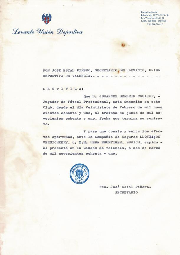 Documento que certifica la estancia de Johan Cruyff en el Levante Unión Deportiva / Fuente: Levante Web Deportiva