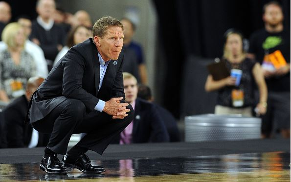 Head Coach Mark Few of the Gonzaga Bulldogs looks on against the Duke Blue Devils during the South Regional Final of the 2015 NCAA Men's Basketball Tournament at NRG Stadium / Lance King - Getty Images