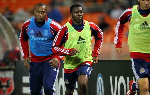 Michael Lahoud (center) during his time with Chivas USA | Ned Dishman - Getty Images