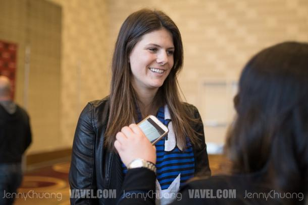 Maddie Bauer speaks with reporters after being drafted by the Seattle Reign | Source: Jenny Chuang