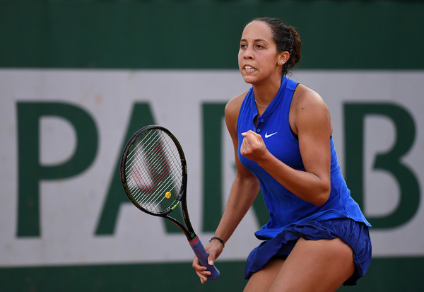 Madison Keys celebrates after winning a point during her third round match against Monica Puig at the 2016 French Open. | Photo:Clive Brunskill/Getty Images Europe