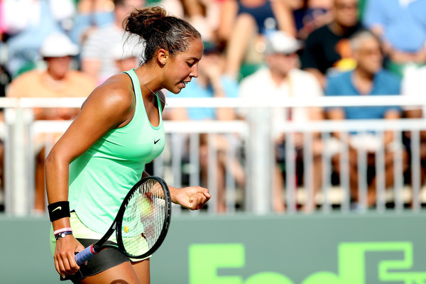 Madison Keys celebrates winning a point at the Miami Open | Photo: Matthew Stockman/Getty Images North America