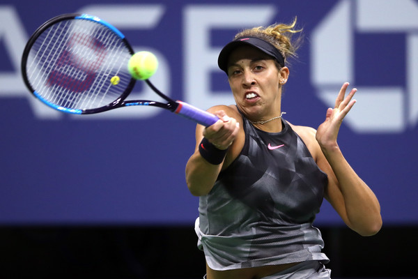 Madison Keys in action during her first US Open semifinal | Photo: Matthew Stockman/Getty Images North America