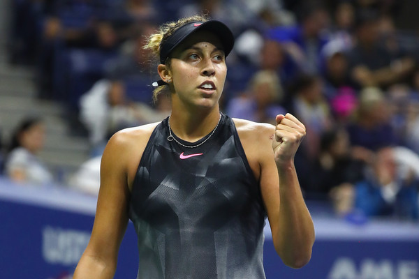 Madison Keys celebrates winning a point | Photo: Al Bello/Getty Images North America