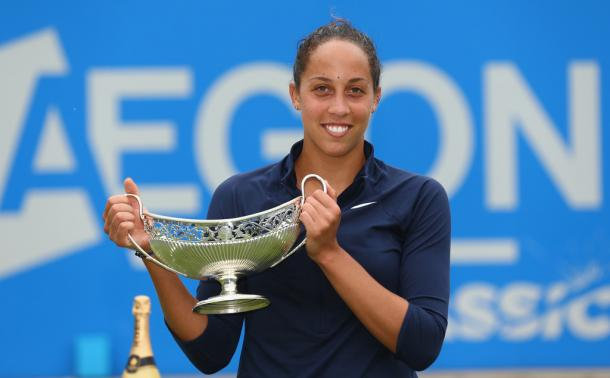 Madison Keys lifts the the trophy after winning the title in Birmingham.   Photo: Steve Bardens/Getty Images