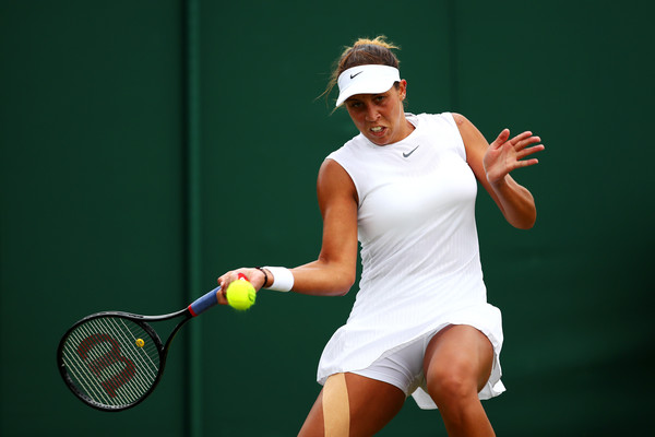 Madison Keys in action at the Wimbledon Championships, falling to Camila Giorgi in the second round | Photo: Clive Brunskill/Getty Images Europe