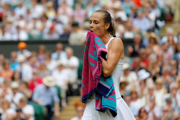 Magdalena Rybarikova looks on in disappointment after her substandard performance | Photo: Pool/Getty Images Europe