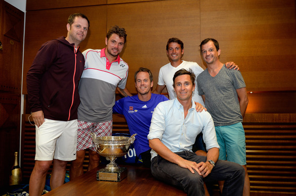 Wawrinka and his team after capturing the 2015 French Open (Pool/Getty Images Europe)