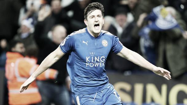 Maguire celebra su gol ante el Manchester United. Foto: Premier League.
