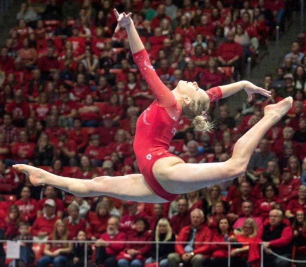 Makenna Merrel performs on balance beam for Utah against UCLA in Salt Lake City/Utah Athletics