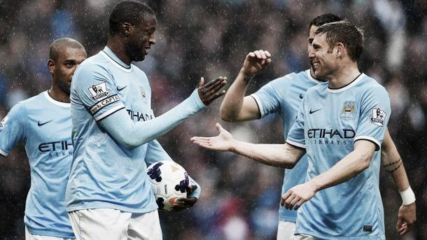 Los jugadores del City post 5-0. Foto Premier League.