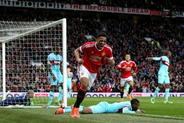Martial celebrates scoring the equaliser against West Ham at Old Trafford | Photo: Getty Images