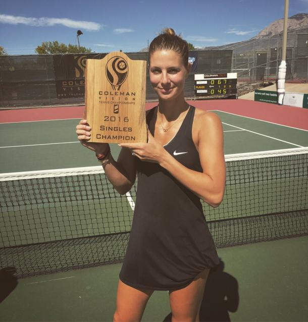 Mandy Minella poses with the winner's trophy after winning the 2016 Coleman Vision Tennis Championships.   Photo via Minella's Twitter page
