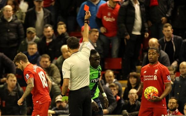 It is not the first time Mane has seen red this season. | Photo: The Telegraph