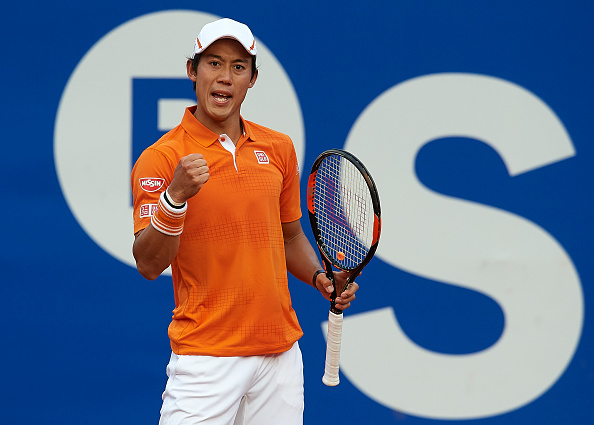 Nishikori fist-pumps to his box during the final in Barcelona last week. Credit: Manuel Queimadelos Alonso/Getty Images