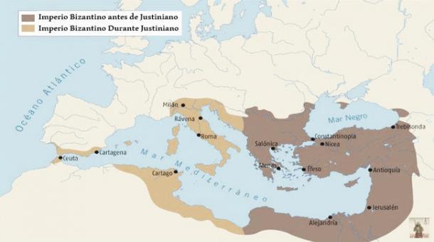 Mapa del Imperio antes y después de Justiniano. Fuente: Wikicomons