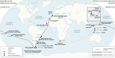 Mapa de la expedición emprendida por Magallanes y Elcano. Fuente: Wikicomons