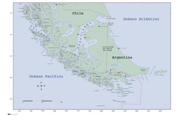 Mapa del Estrecho de Magallanes. Fuente: Wikicomons