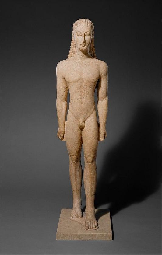 Kouros de Nueva York (circa 590-580 a.C.) Metropolitan Museum of Art (PD)