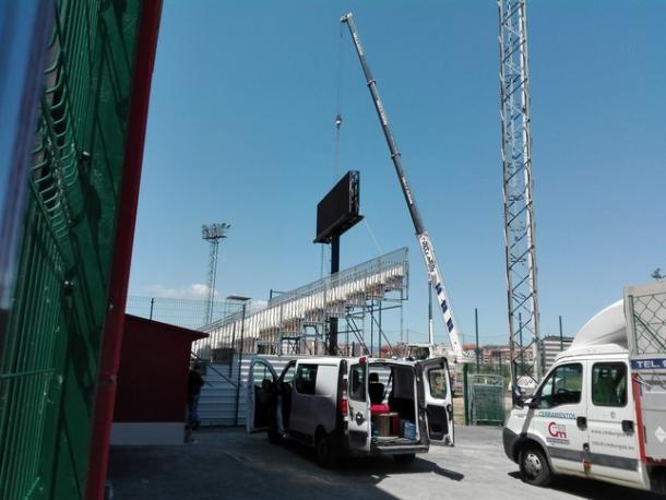 Vista del vídeo marcador instalado esta semana en Anduva. | Foto: Diario de Burgos