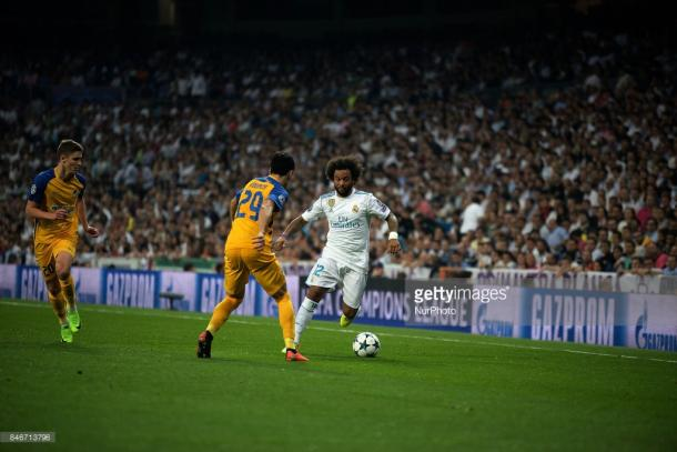 Marcelo hugging the touchline against APOEL midweek. Source | Getty Images.
