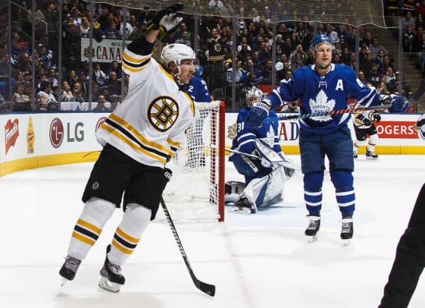 Brad Marchand celebrates his second goal of the night, tying the game at 2 in the first period. Photo: Kevin Sousa/Getty Images