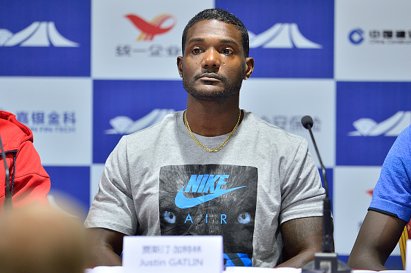 Justin Gatlin at the press conference for the Shanghai Diamond League (Getty/Marcio Machado)