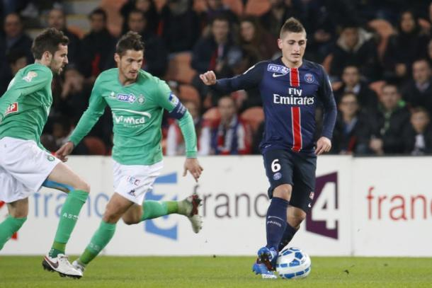 Verratti playing in the 1-0 victory over Saint-Etienne in the Coupe de la Ligue. (Source: PSG.fr)