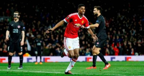Marcus Rashford celebrating after his second goal against FC Midtjylland