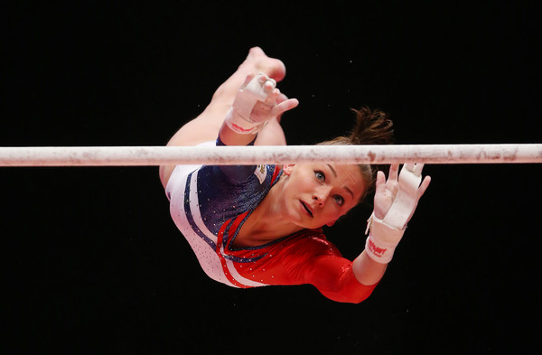 Maria Paseka performs on the uneven bars at the 2015 World Artistic Gymnastics Championships in Glasgow/Getty Images
