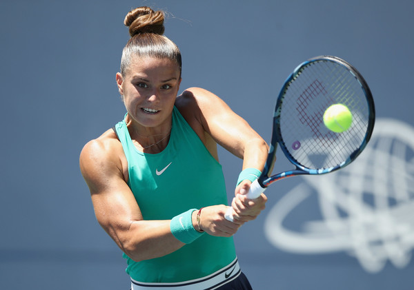 Maria Sakkari in action at the Mubadala Silicon Valley Classic | Photo: Ezra Shaw/Getty Images North America