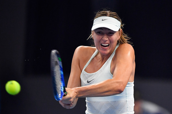 Maria Sharapova in action during her first round win over Sevastova | Photo: Etienne Oliveau/Getty Images AsiaPac