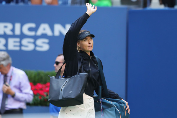 Until next time: Maria Sharapova waves to the crowd before walking off the court after losing her fourth-round match at the 2017 U.S. Open. | Photo: Richard Heathcote/Getty Images