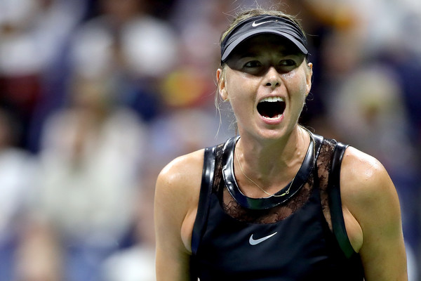 Emotion: Maria Sharapova celebrates after winning a point during her first-round match against Simona Halep at the 2017 U.S. Open. | Photo: Matthew Stockman/Getty Images