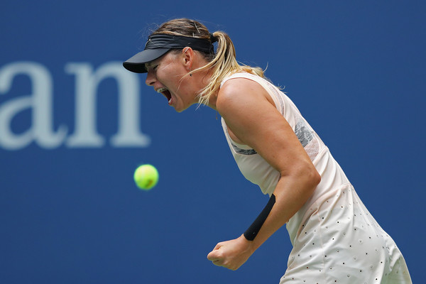 Maria Sharapova celebrates after winning a point during her fourth-round match against Anastasija Sevastova at the 2017 U.S. Open. | Photo: Richard Heathcote/Getty Images