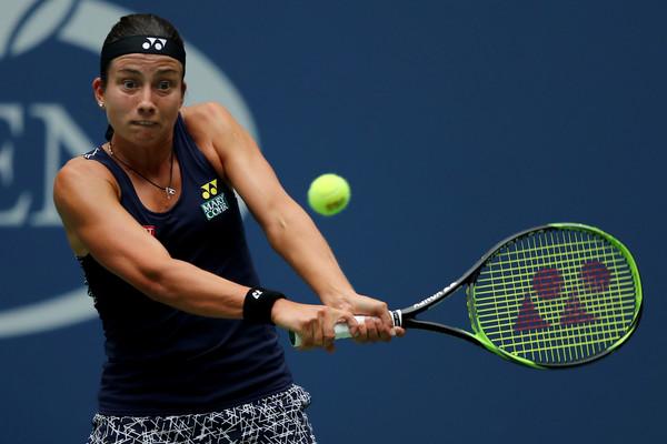 Anastasija Sevastova hits a backhand today | Photo: Elsa/Getty Images North America
