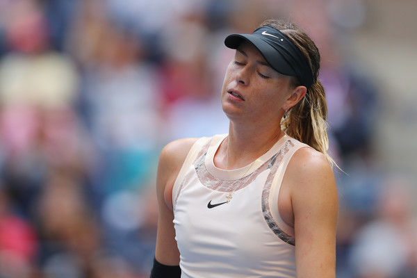 Maria Sharapova reacts after losing a point during her fourth-round match against Anastasija Sevastova at the 2017 U.S. Open. | Photo: Richard Heathcote/Getty Images