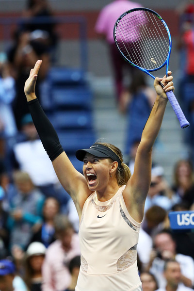 Maria Sharapova celebrates after defeating Timea Babos in the second round of the 2017 U.S. Open. | Photo: Al Bello/Getty Images