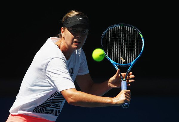 Maria Sharapova during a practice session in Melbourne