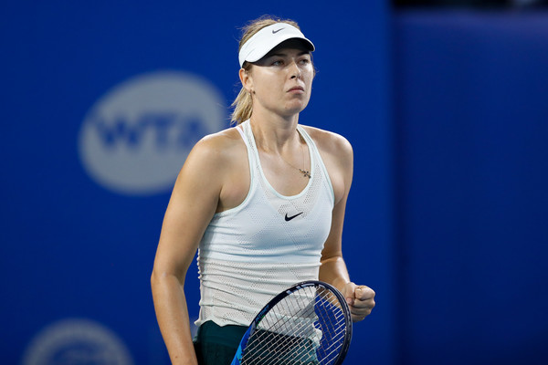 Maria Sharapova celebrates winning a point during the match | Photo: Zhizhao Wu/Getty Images AsiaPac