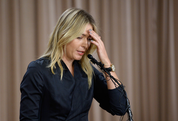 The beginning of a difficult road: Maria Sharapova holds a press conference on March 7, 2016, to announce she has tested positive for Meldonium, a substance that had just been added to WADA's banned list in the New Year. | Photo: Kevork Djansezian/Getty Images